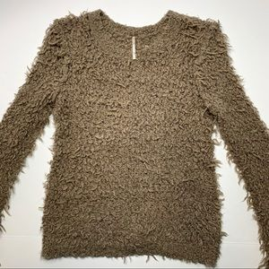 FREE PEOPLE Fuzzy Brown Long Sleeve Sweater S/P